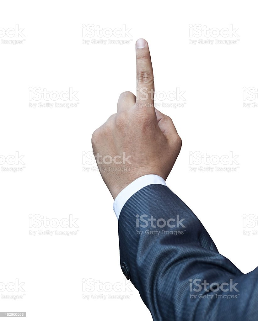 Finger touching on a touch screen interface royalty-free stock photo