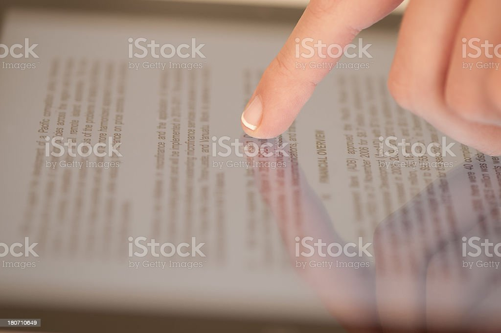 Finger touching tablet PC royalty-free stock photo