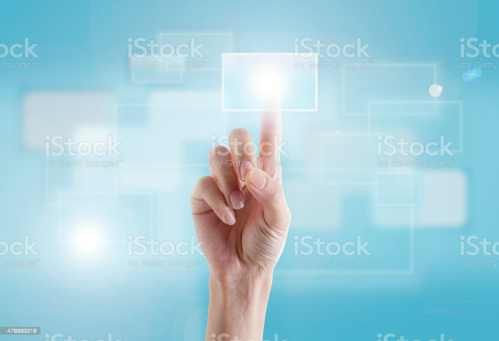 Finger Touching Transparent Digital Touch Screen stock photo