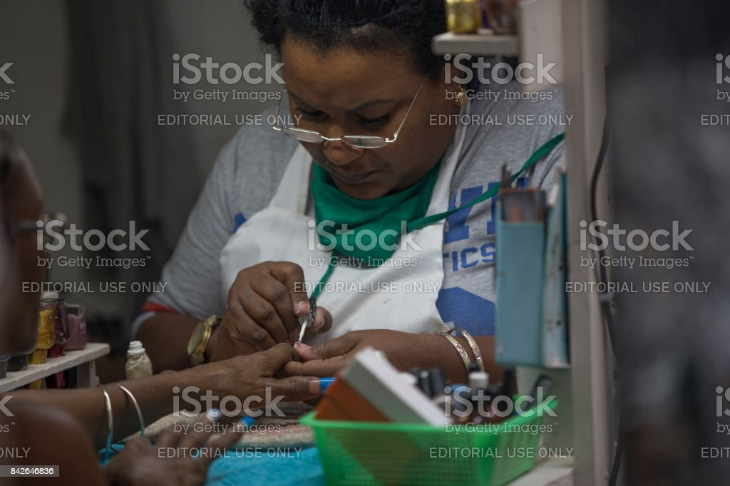 Fingernail paint service at Havana, Cuba stock photo