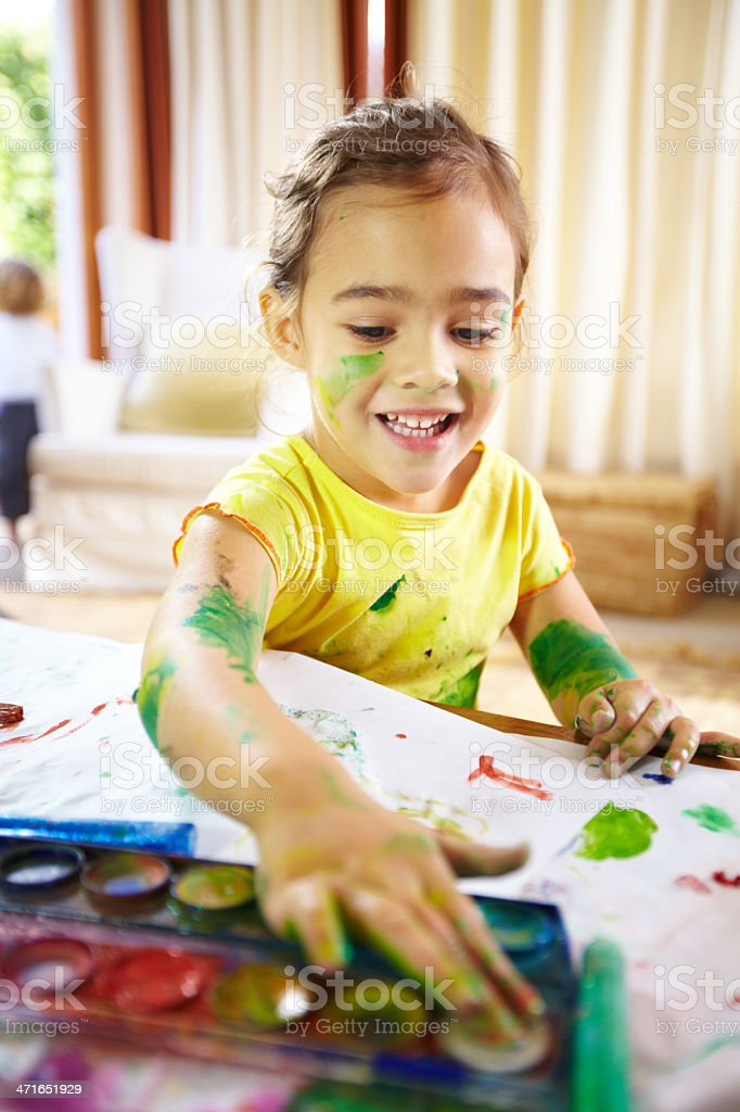 Fingerpainting genuis at work royalty-free stock photo