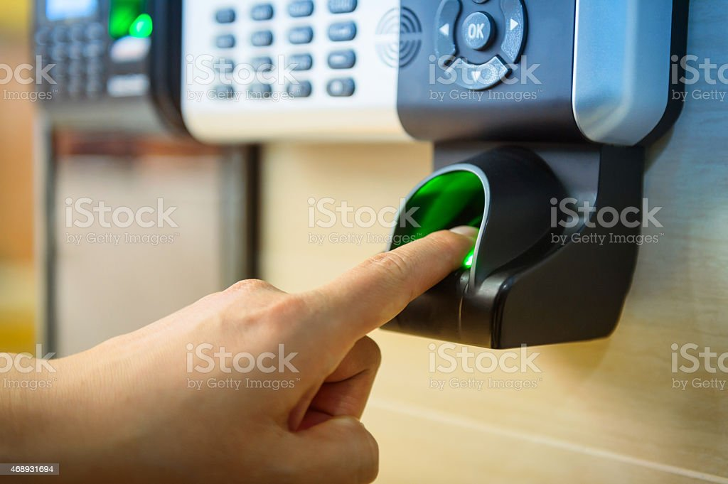 Fingerprint access control system stock photo