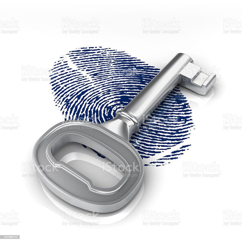 fingerprint and key royalty-free stock photo