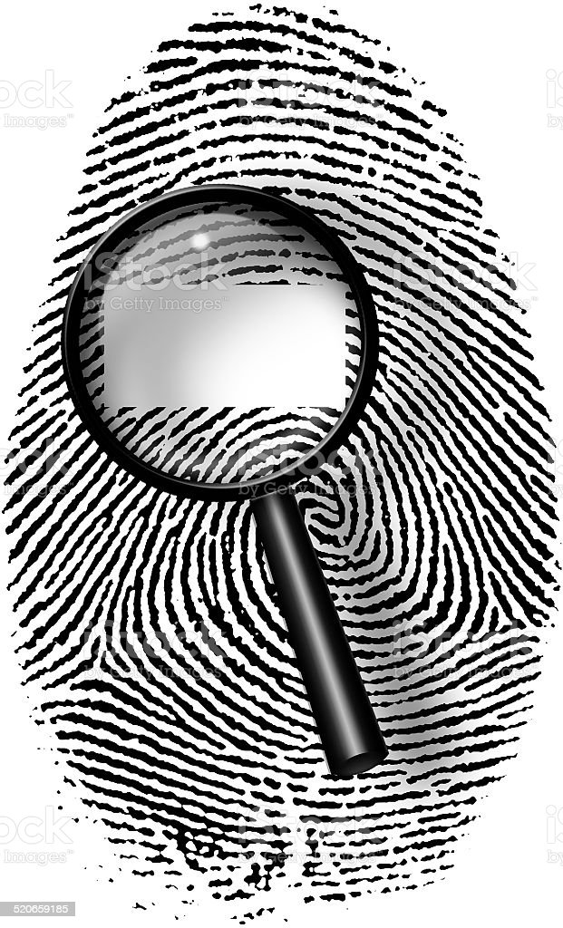Fingerprint and magnify glass with blamk rectangle vector art illustration