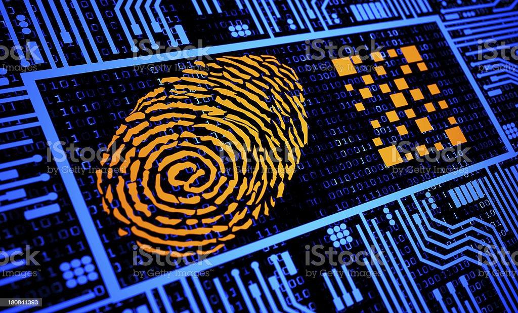 Fingerprint and QR Code in Orange in blue digital background royalty-free stock photo