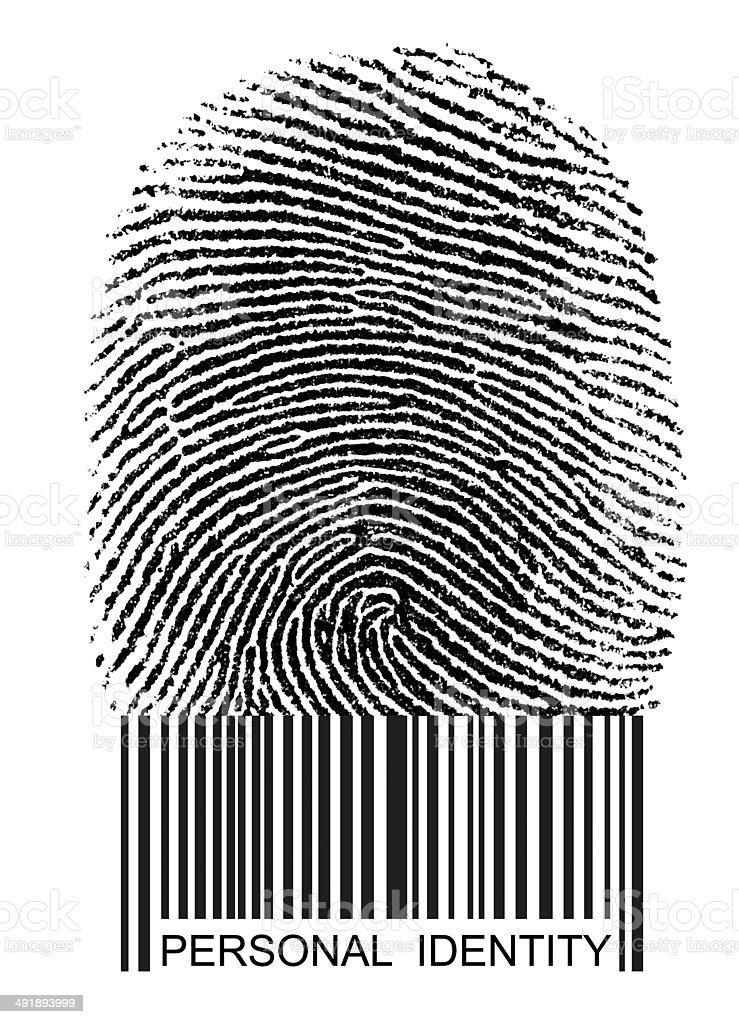 Fingerprint Bar Code ID stock photo