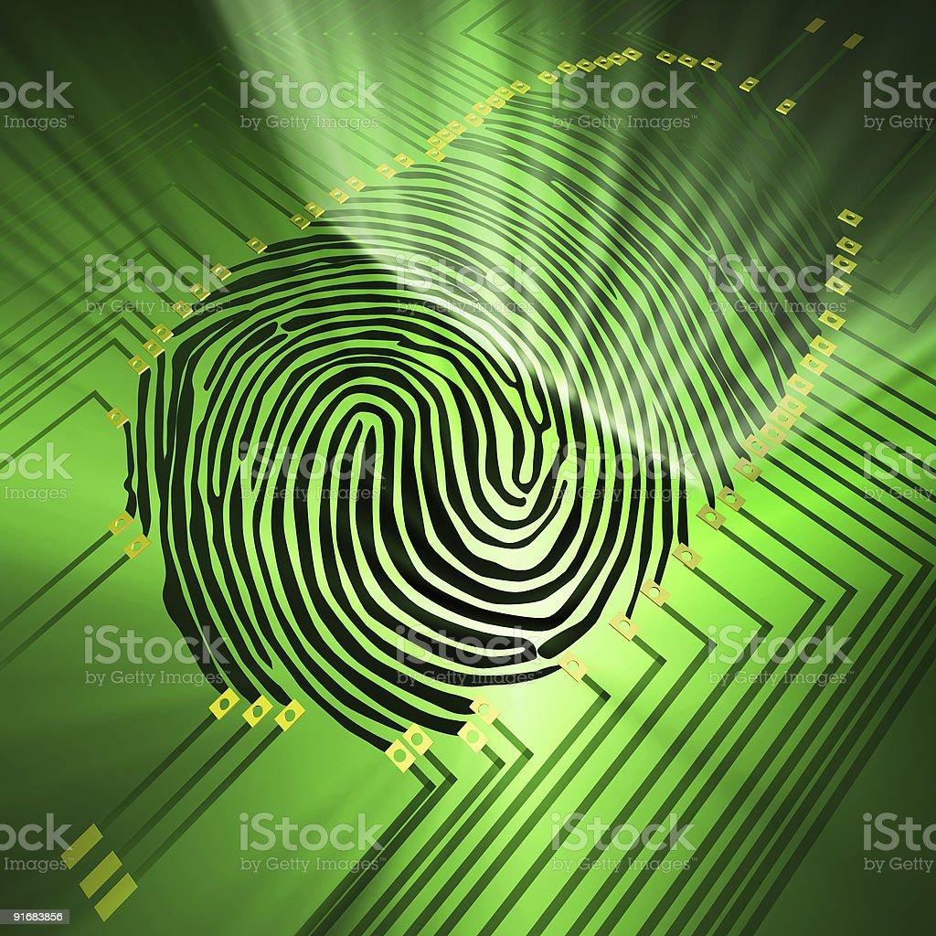 Fingerprint being analyzed on digital background stock photo