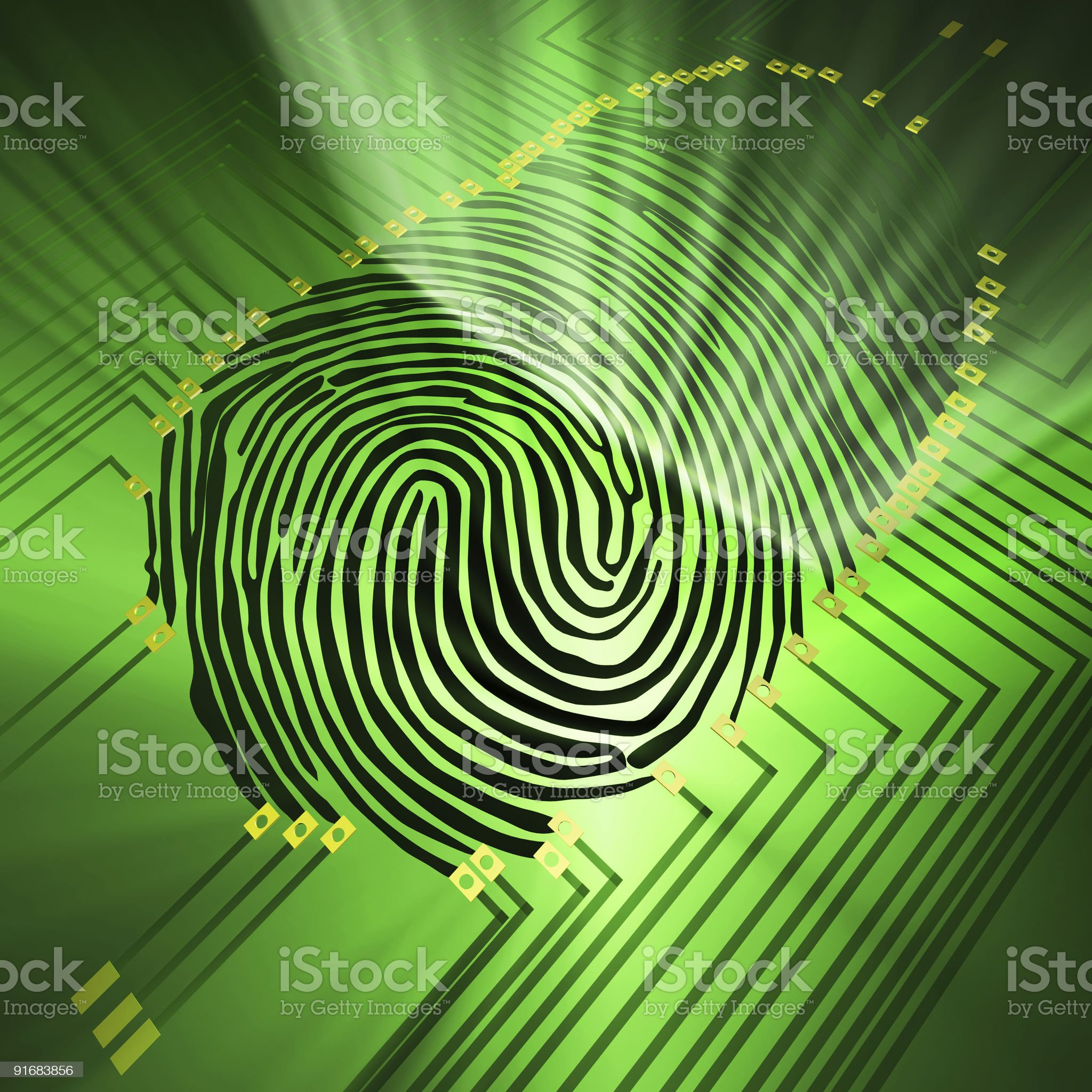 Fingerprint being analyzed on digital background royalty-free stock photo