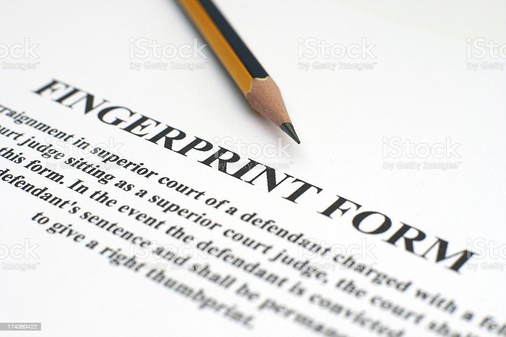Fingerprint form royalty-free stock photo