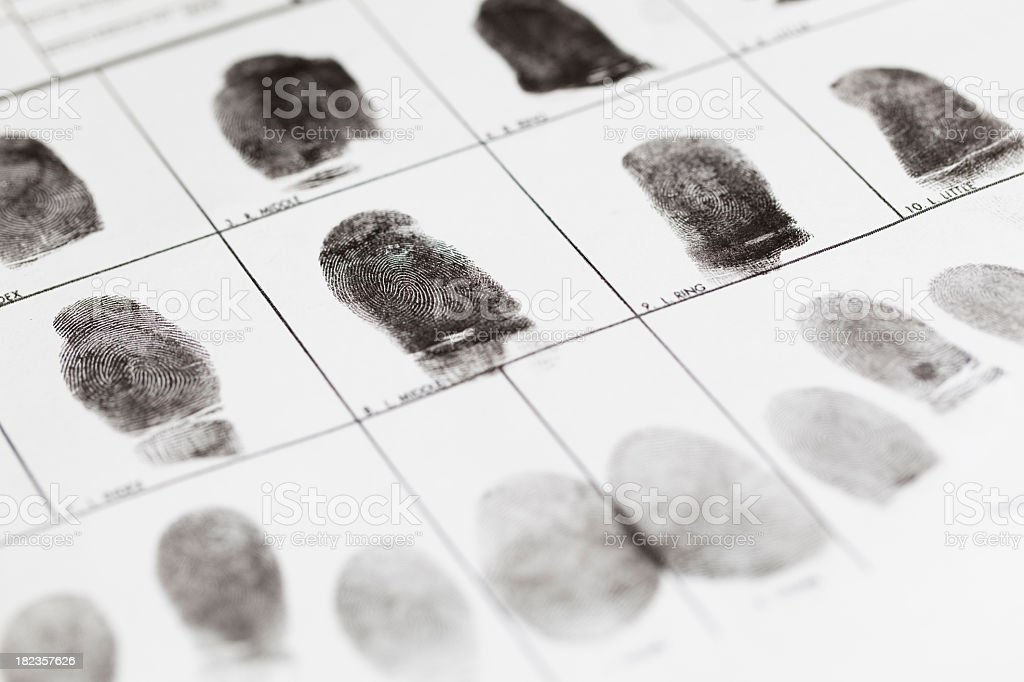 A fingerprint form that has fingerprints on it royalty-free stock photo