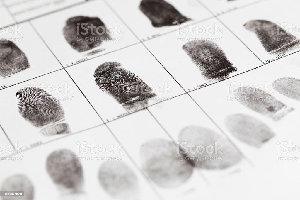 A fingerprint form that has fingerprints on it stock photo