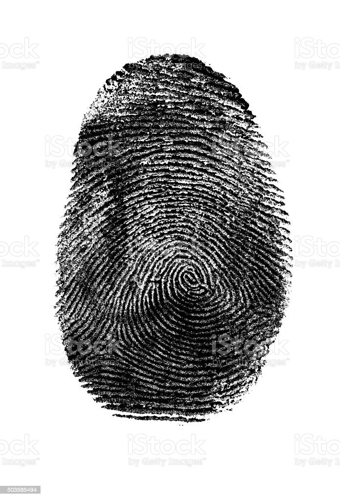 Fingerprint in Black and White. stock photo