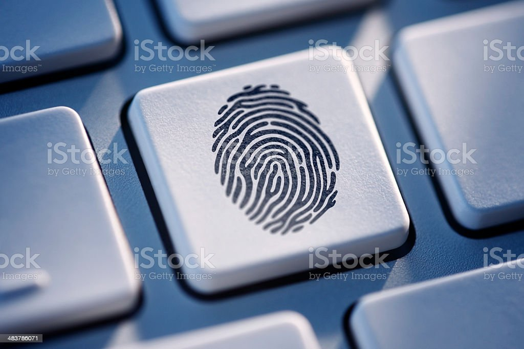 Fingerprint Key On Computer Keyboard stock photo