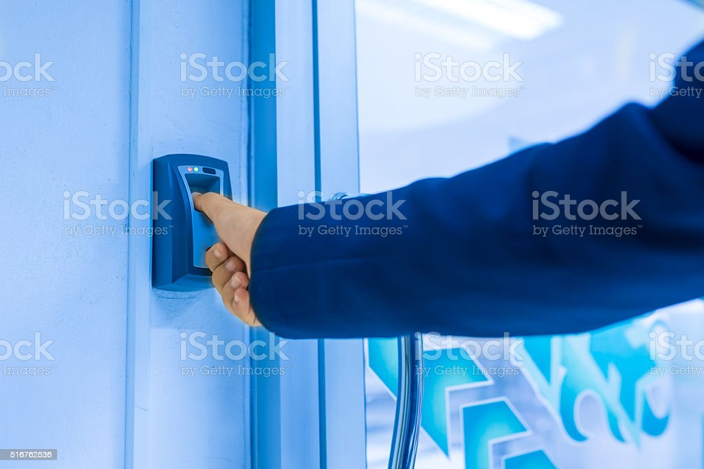Fingerprint machine stock photo