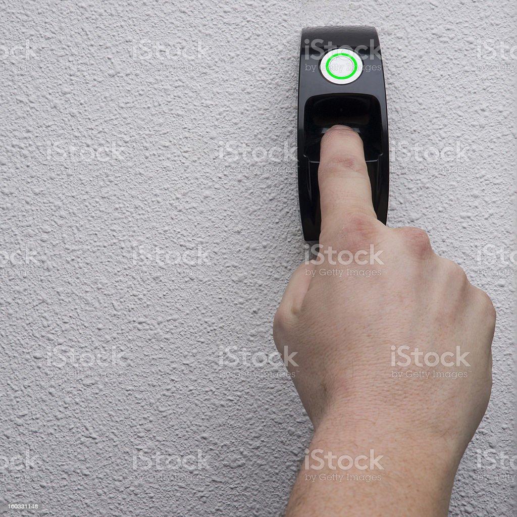 fingerprint needed to open the door stock photo