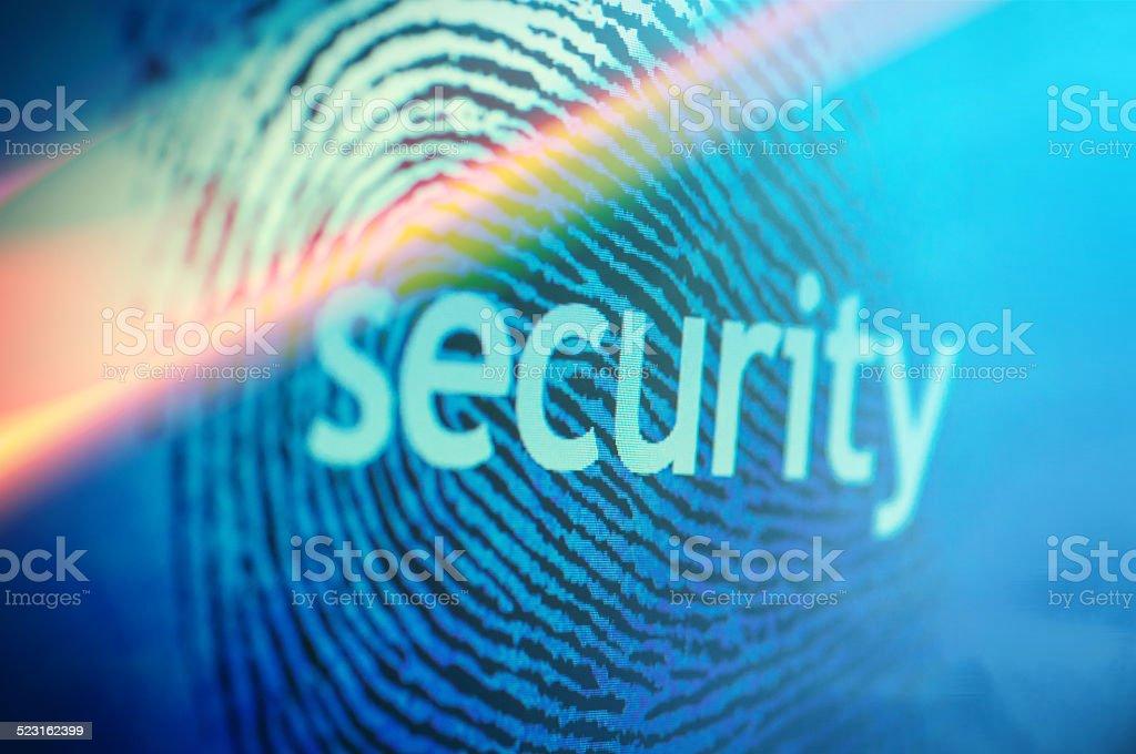 Fingerprint on a Computer Monitor stock photo