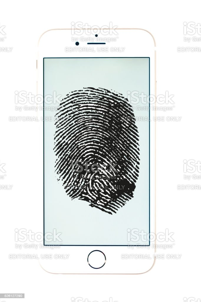 Fingerprint on apple iphone 6 gold stock photo