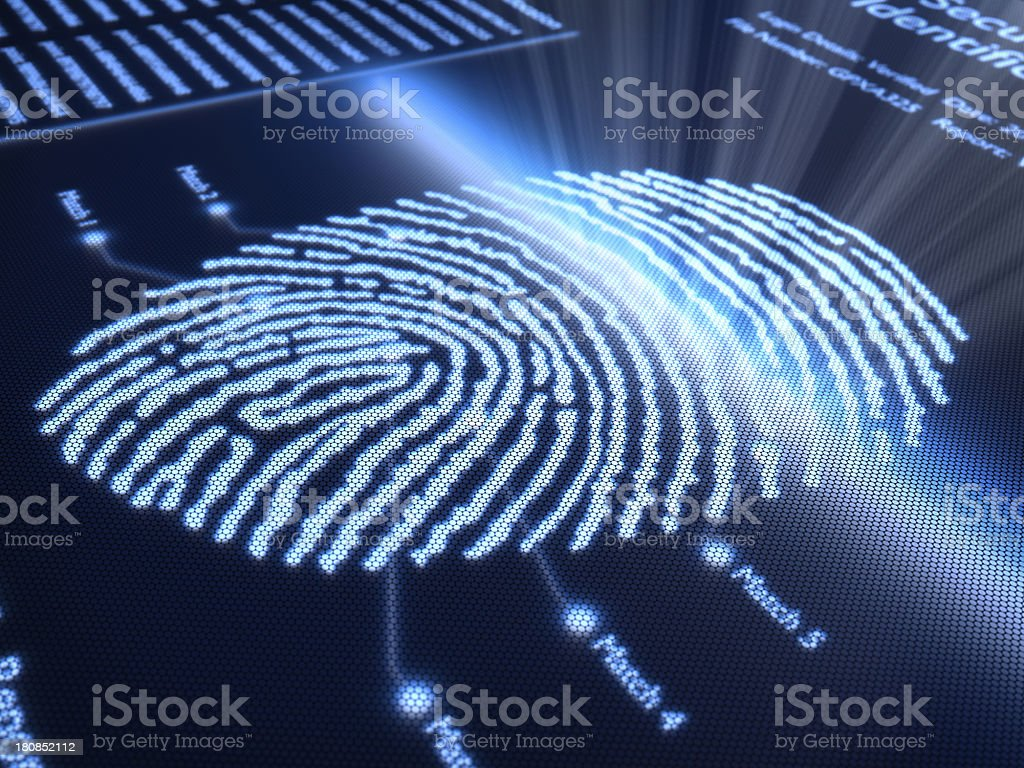 Fingerprint on pixellated screen stock photo