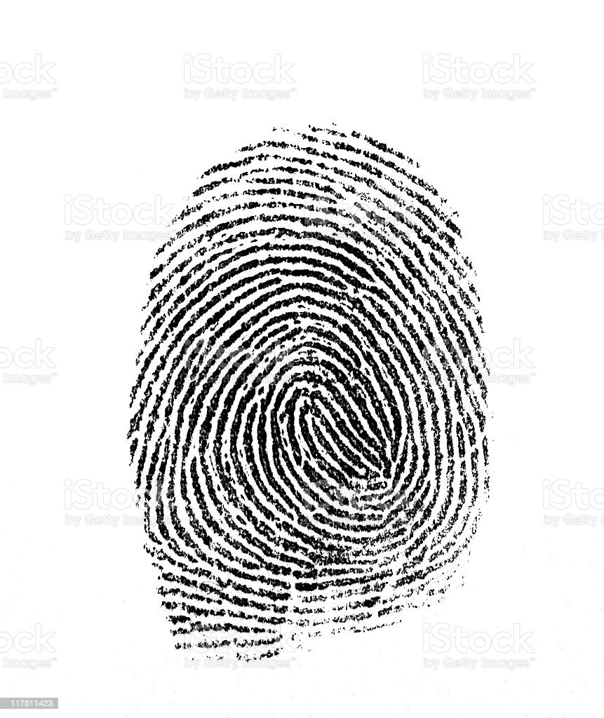 Fingerprint photographed on white background stock photo