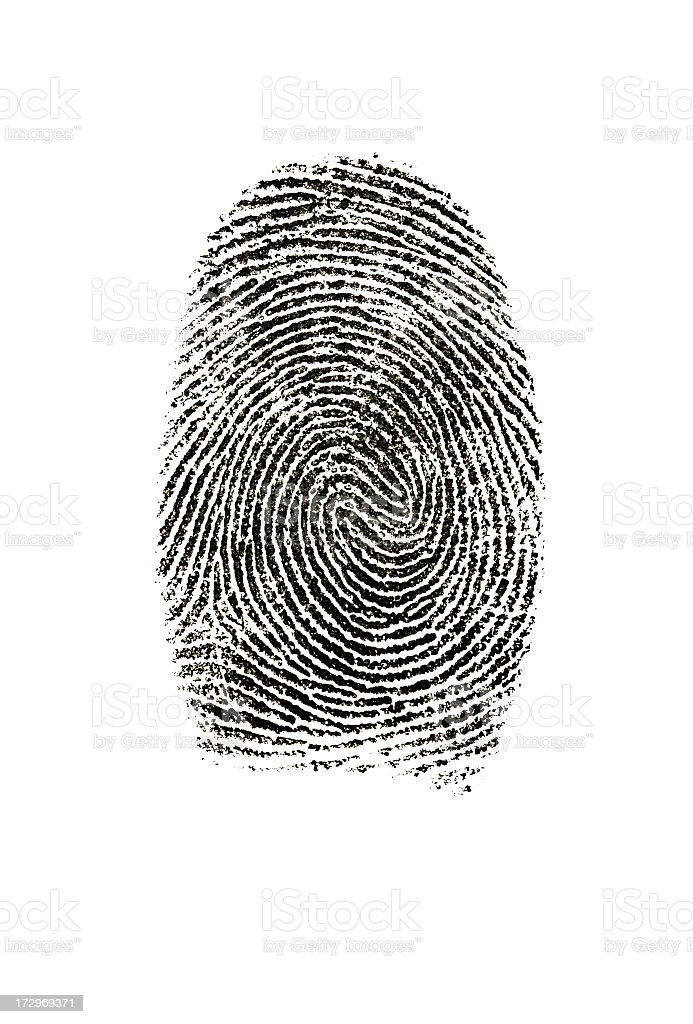 Fingerprint photographed on white background. stock photo