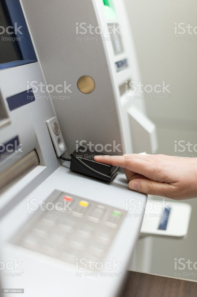 Fingerprint recognition technology stock photo