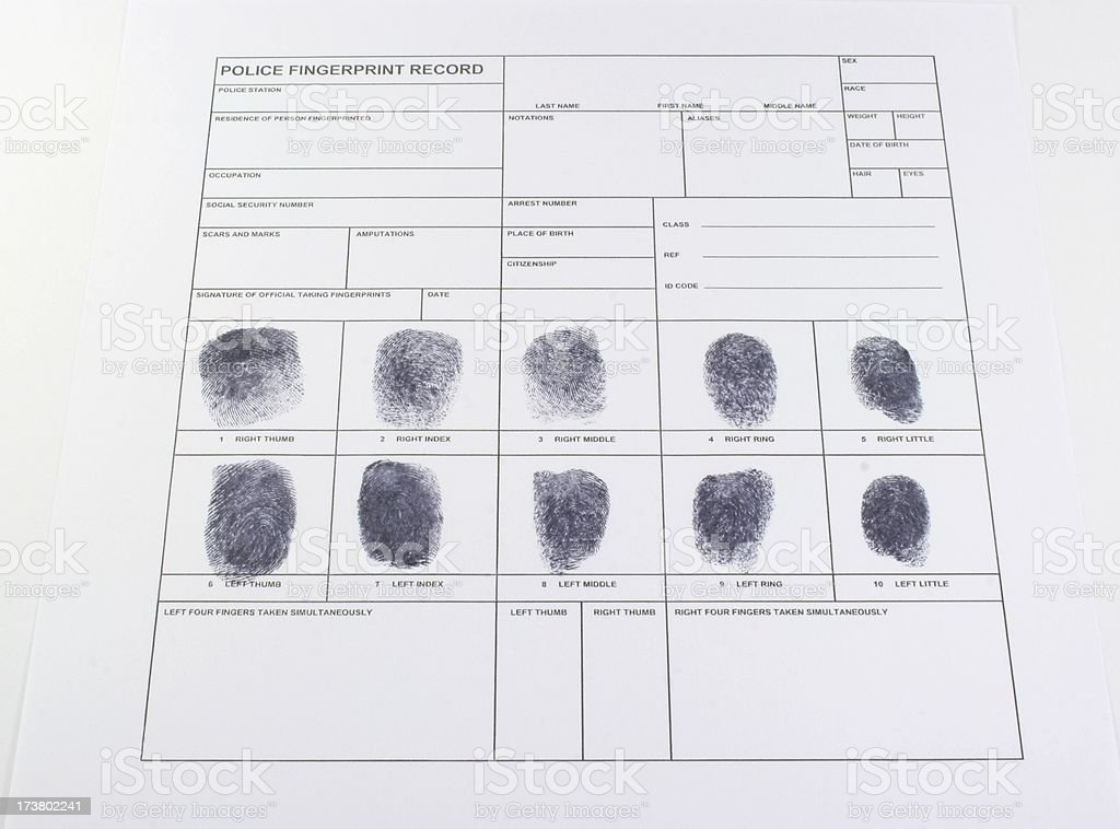 fingerprint record royalty-free stock photo