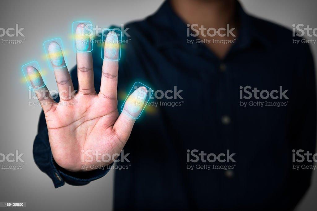 Fingerprint scan stock photo