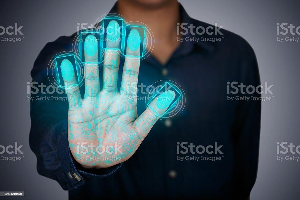 Fingerprint scaning stock photo