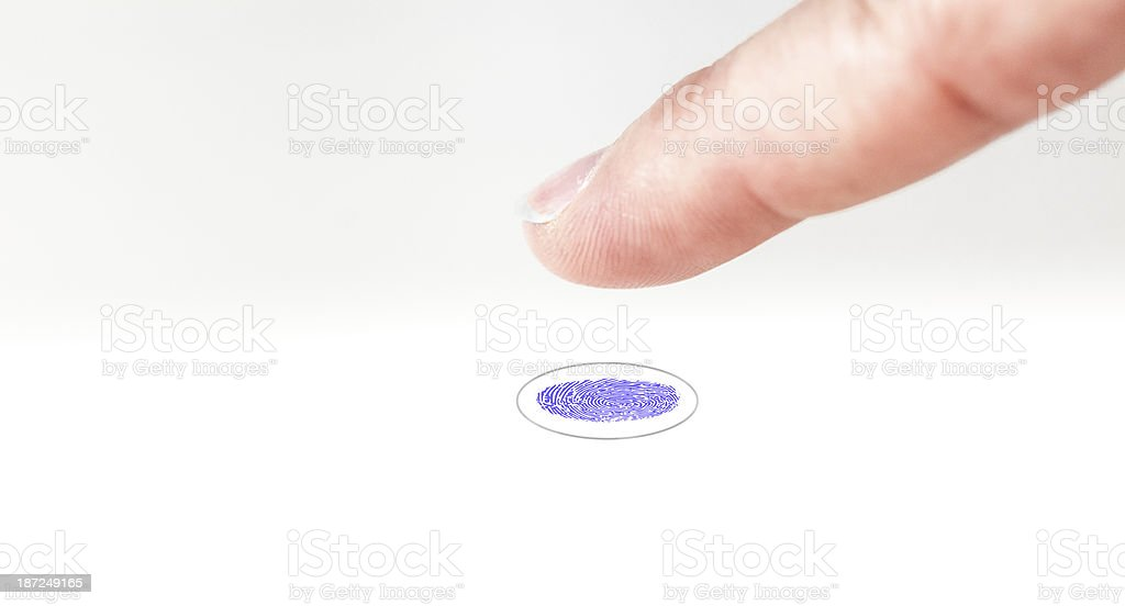 Fingerprint trace on a wite seamless plane royalty-free stock photo
