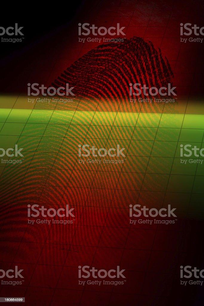Fingerprint with laser beam royalty-free stock photo