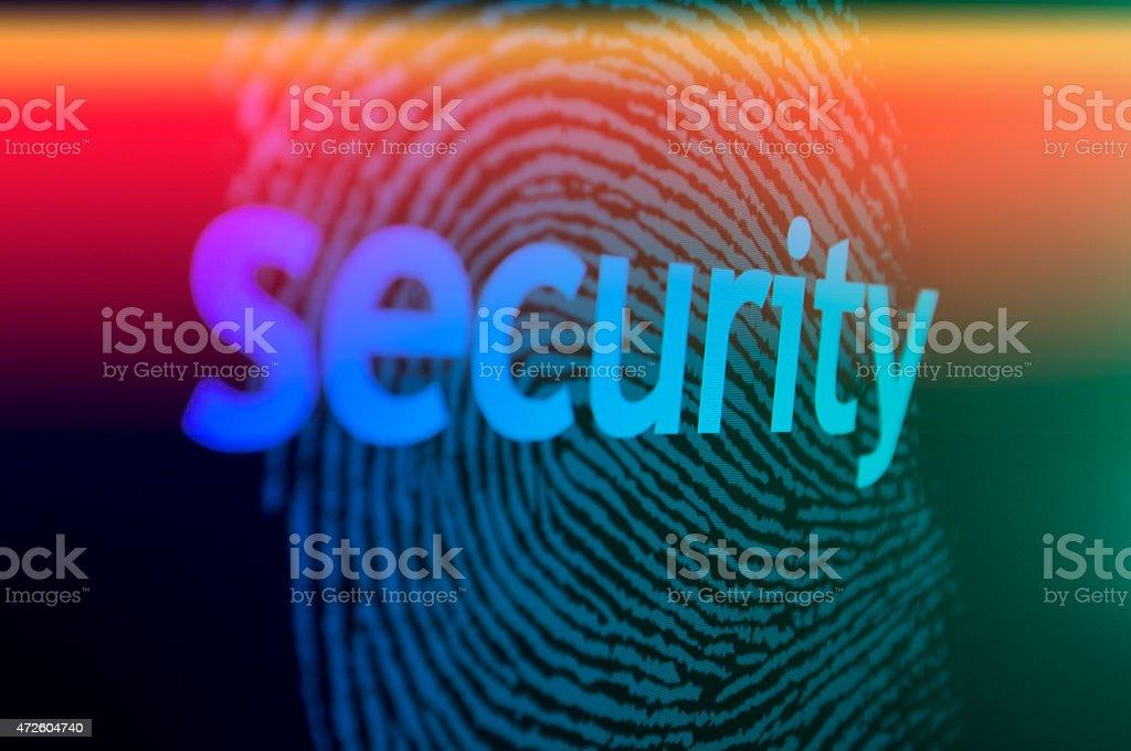 Fingerprint with laser beam stock photo
