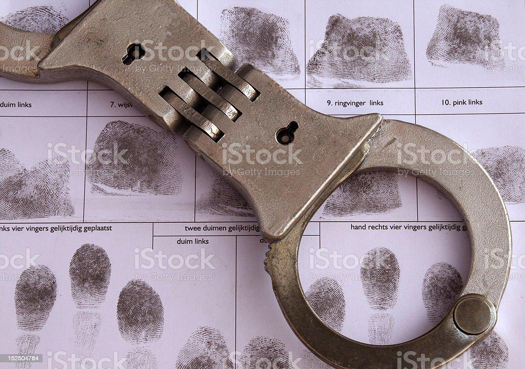fingerprints and handcuffs stock photo