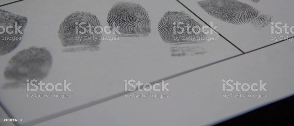 Fingerprints on paper are taken from the killer stock photo