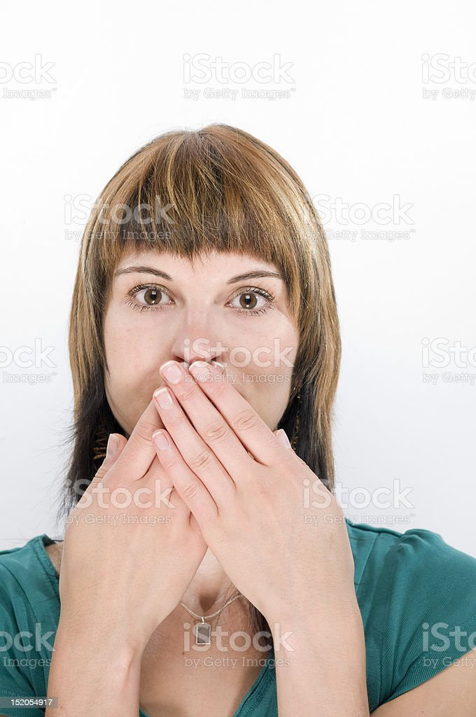 fingers at the mouth royalty-free stock photo