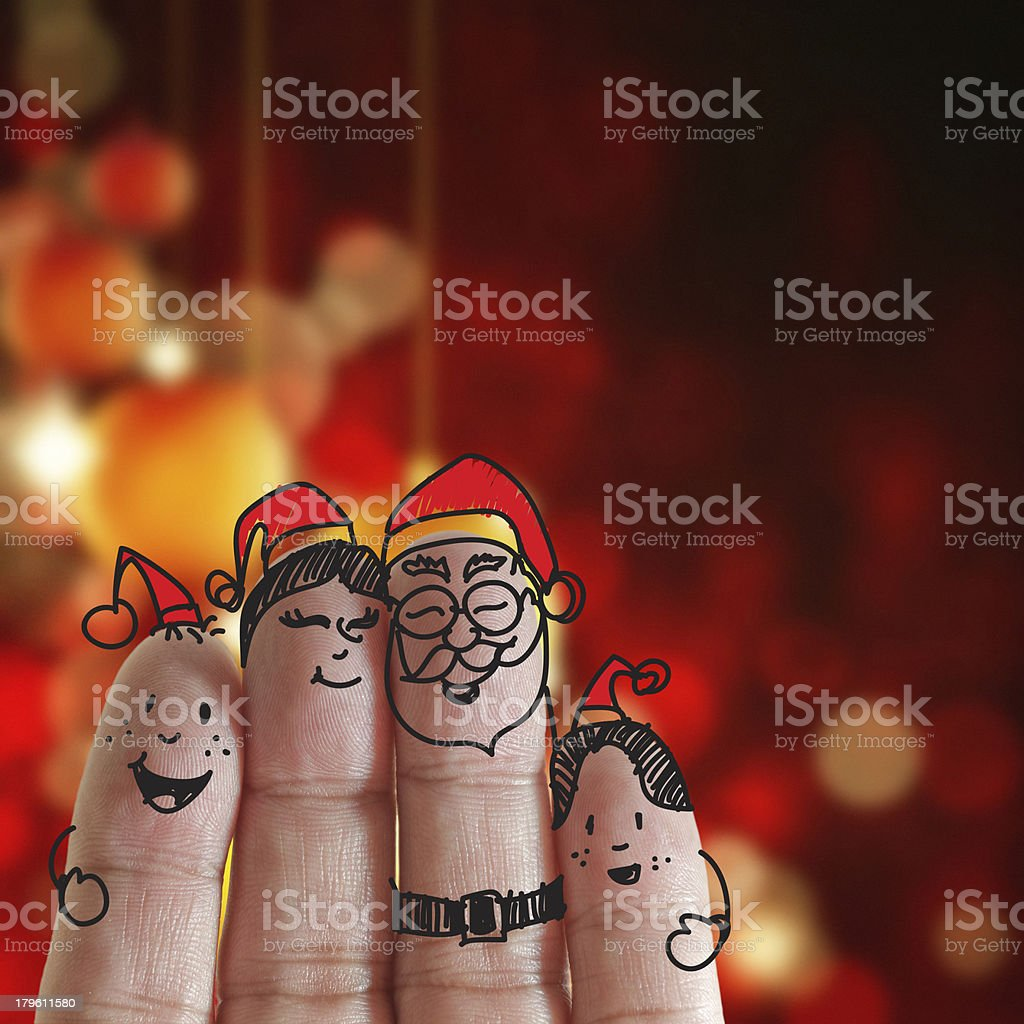Fingers Family and christmas stock photo