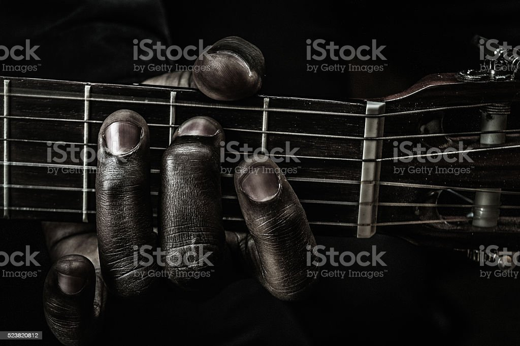 Fingers of blues stock photo