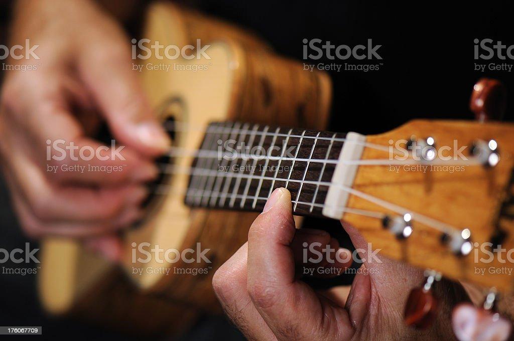 Fingers on frets, Ukelele stock photo