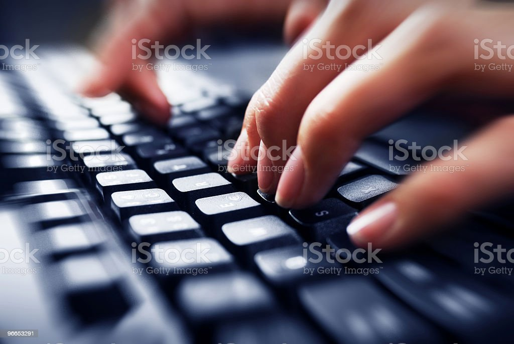 Fingers on keyboard royalty-free stock photo