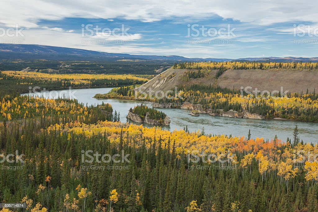 5 Fingers Rapid on the Yukon River, Canada stock photo