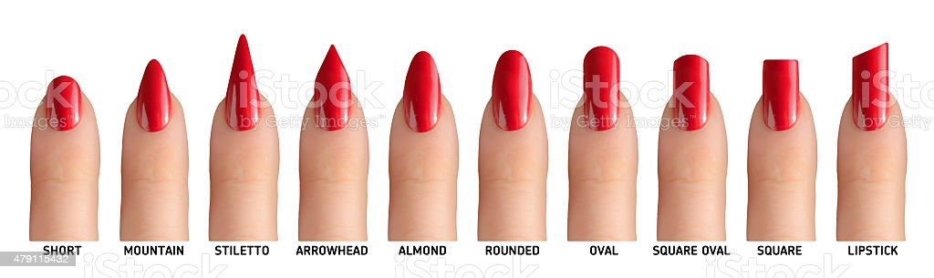 10 fingers with different nail shapes stock photo