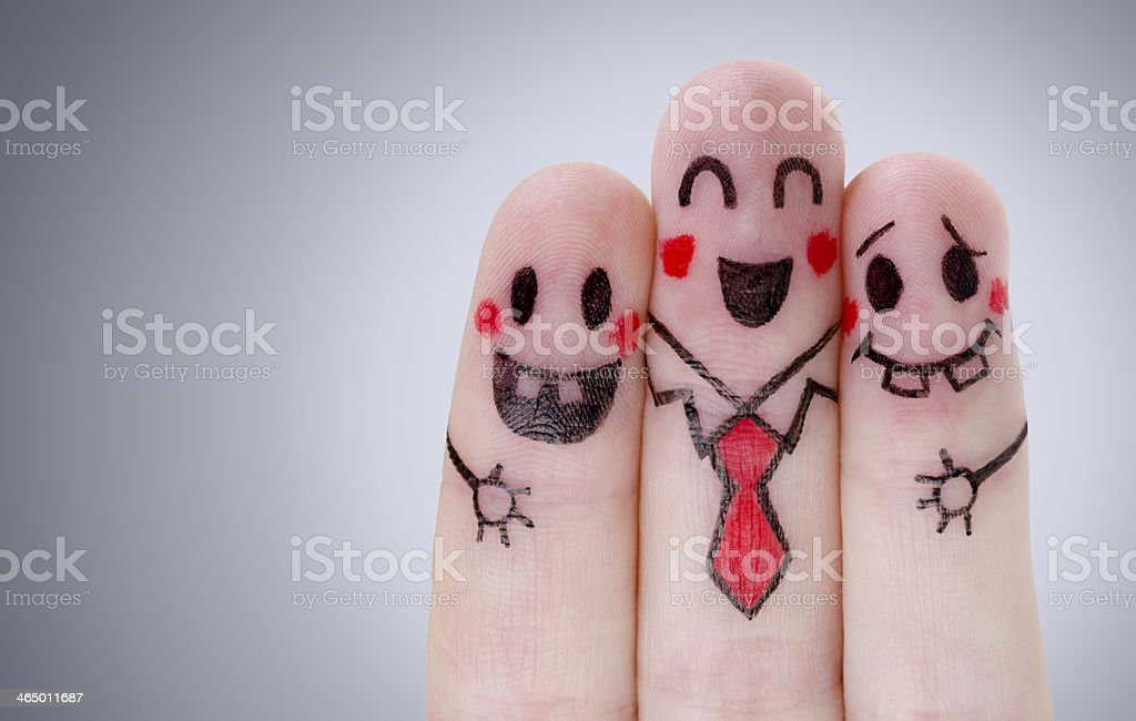 Fingers with happy smiley faces stock photo