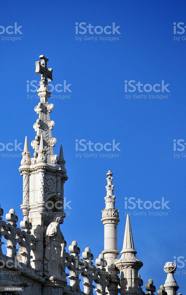 Finial at Jeronimos monastery, Lisbon, Portugal stock photo