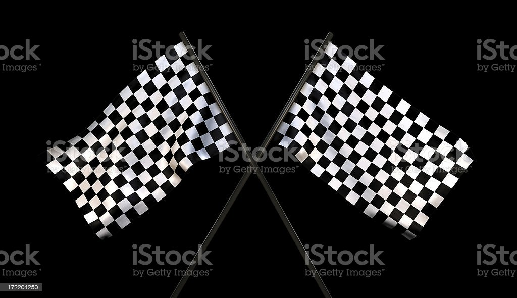 Finish Line Checkered Flags (With Cliping Path) royalty-free stock photo