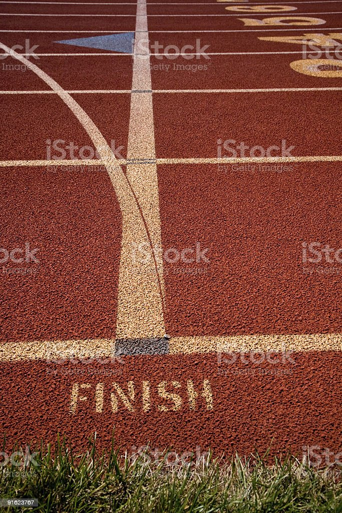 Finish Line From Above on Lanes of Rubber Running Track royalty-free stock photo