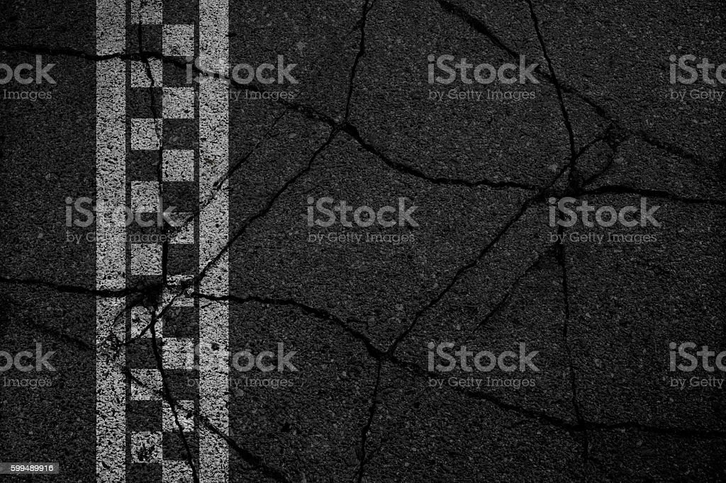 Finish line racing crack asphalt background. stock photo