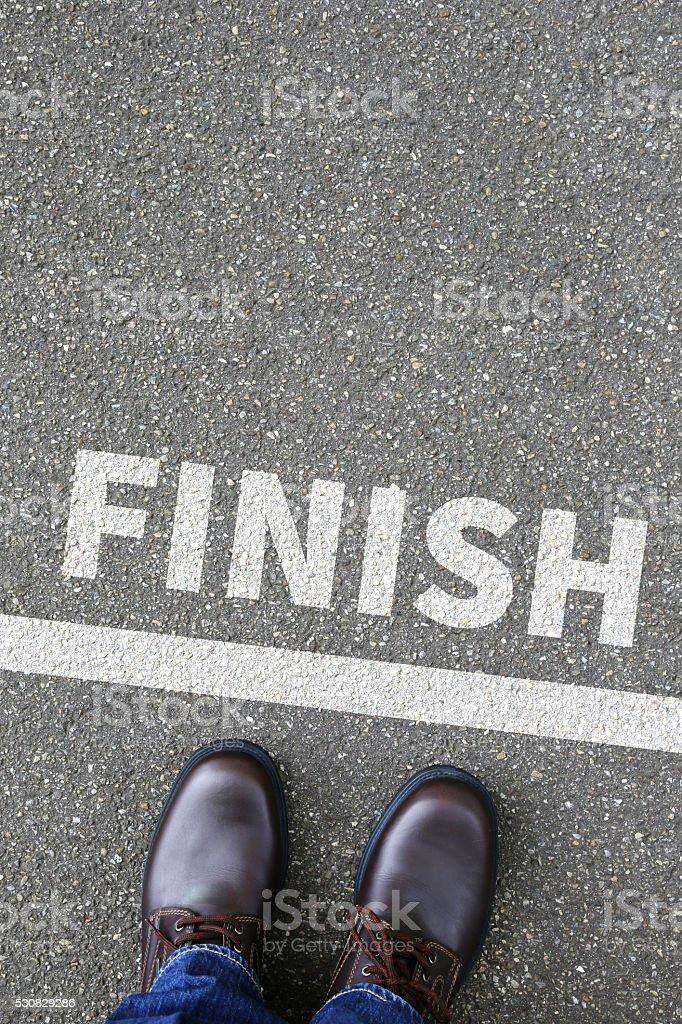 Finish line winning success running race business concept stock photo