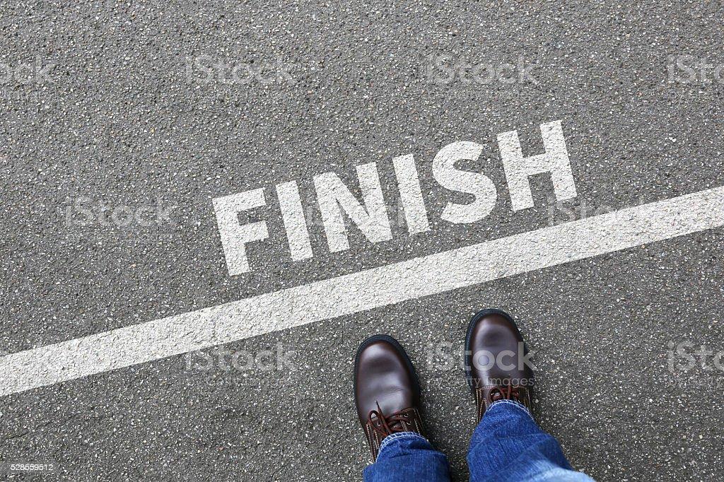 Finish line winning success running race businessman business man concept stock photo