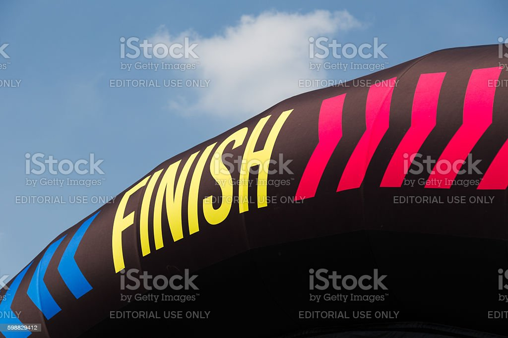 Finish sign at the Color Run in Milan, Italy stock photo