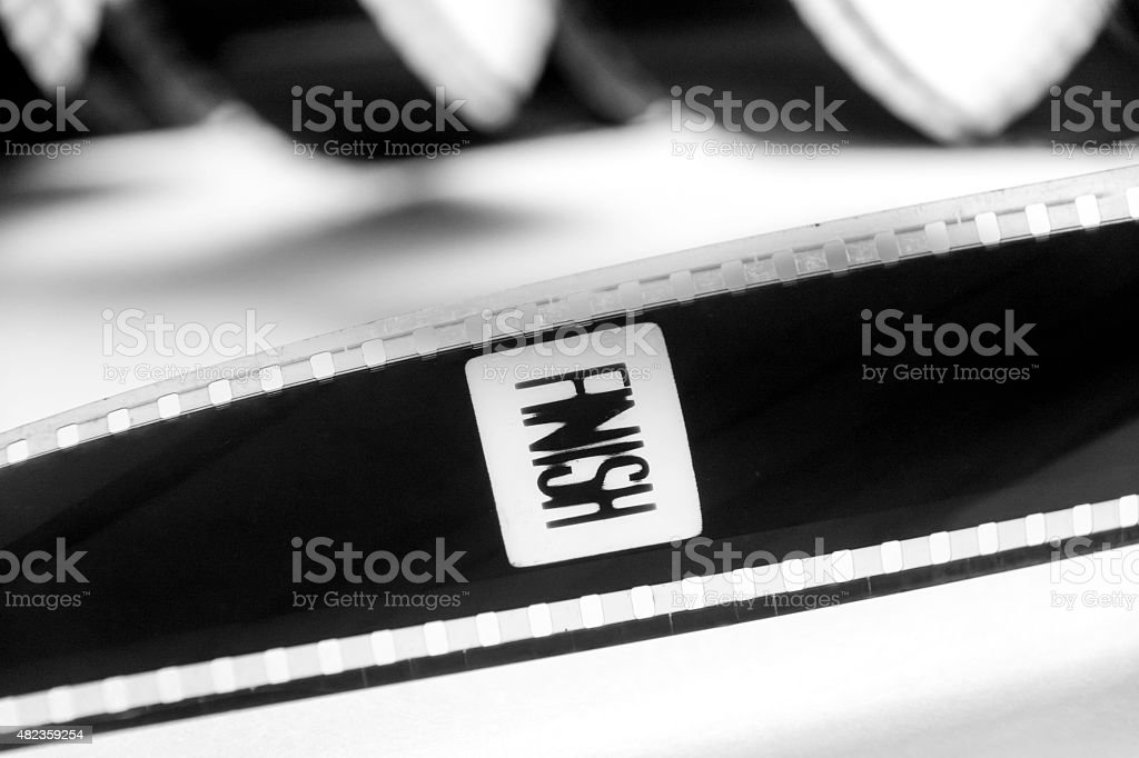 Finish word in a black and white film stock photo