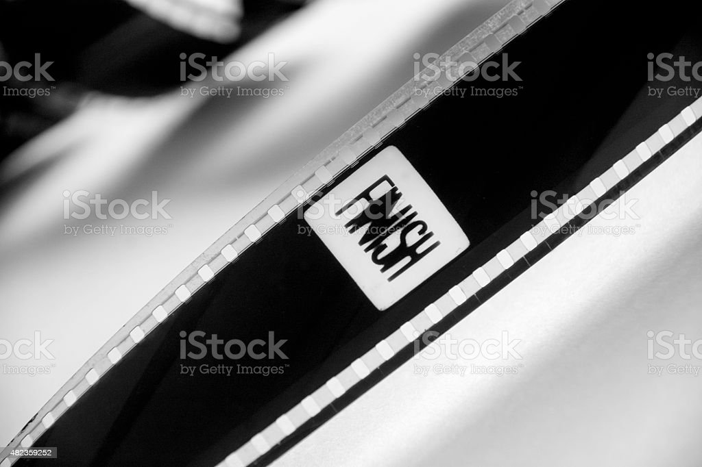 Finish word  in black and white film stock photo